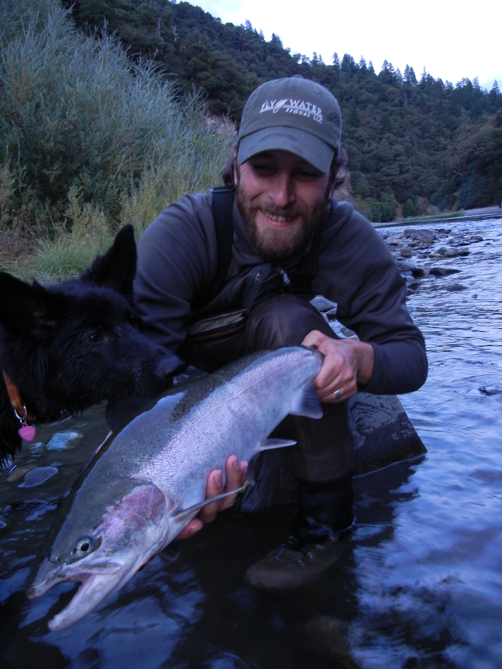 Charles Gehr with his and Skeena's first Trinity steelhead.