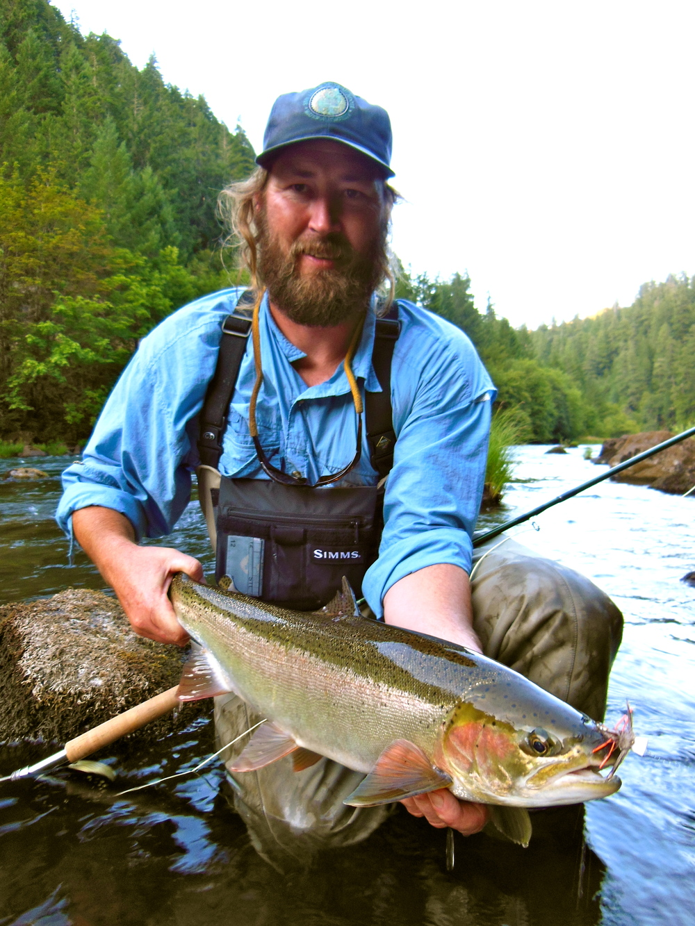 Always a good time with Rick Knapp, his first North Umpqua summer steelhead. And no, he's not coming for your goat, ha.