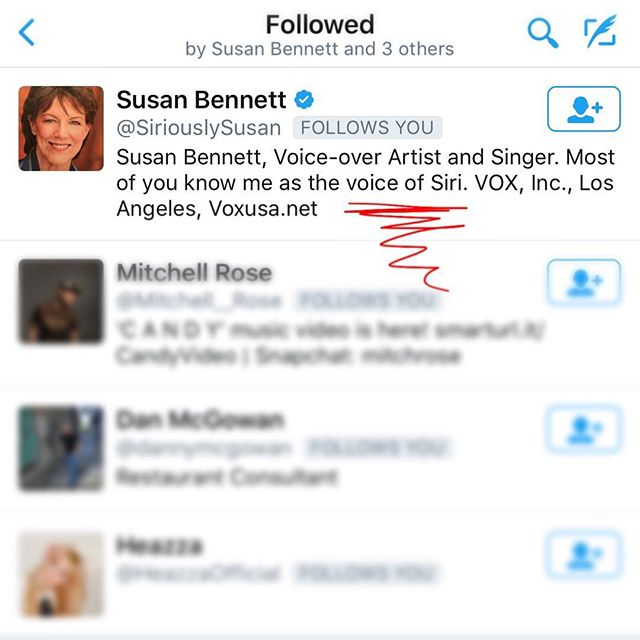 "The ""VOICE OF SIRI"" is following us on Twitter?!? As an output of which algorithm?!?!"