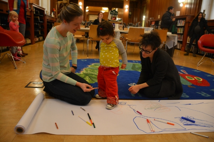 Spellbound Theatre's Free Family Art Day. Park Slope's Brooklyn Public Library branch.
