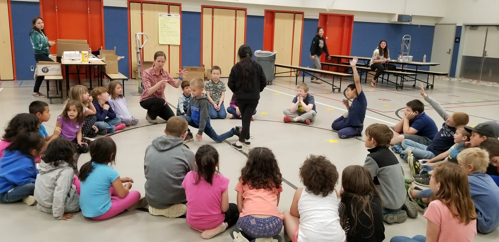 Students participating in a Storytelling workshop as part of Yupik Culture Camp in Dillingham, Alaska.