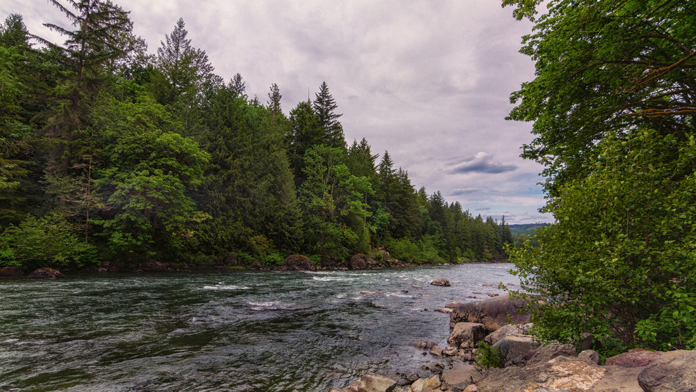 Snoqualmie River in Washington, just pass the lower falls observation deck