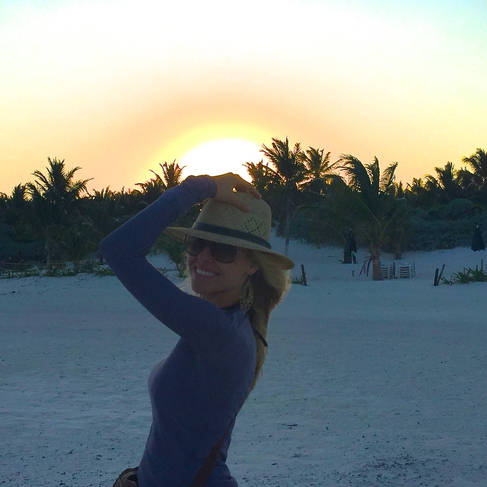 Tulum Sunset in my new favorite hat