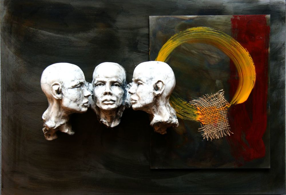 "Untitled (3 Heads Same, Wall-Mounted with burlap and encaustic ), 18x26""  Head Sculpture"
