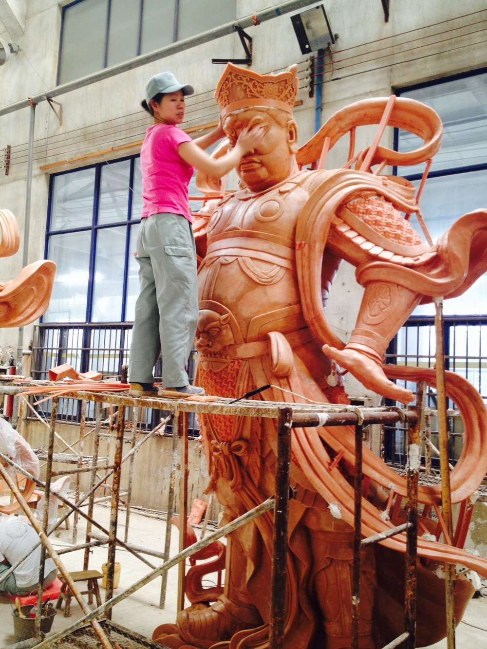 Wax version of a Chinese sculptor's work in progress which will soon be cast in a single-pour via lost-wax bronze, TQ Art Foundry China.
