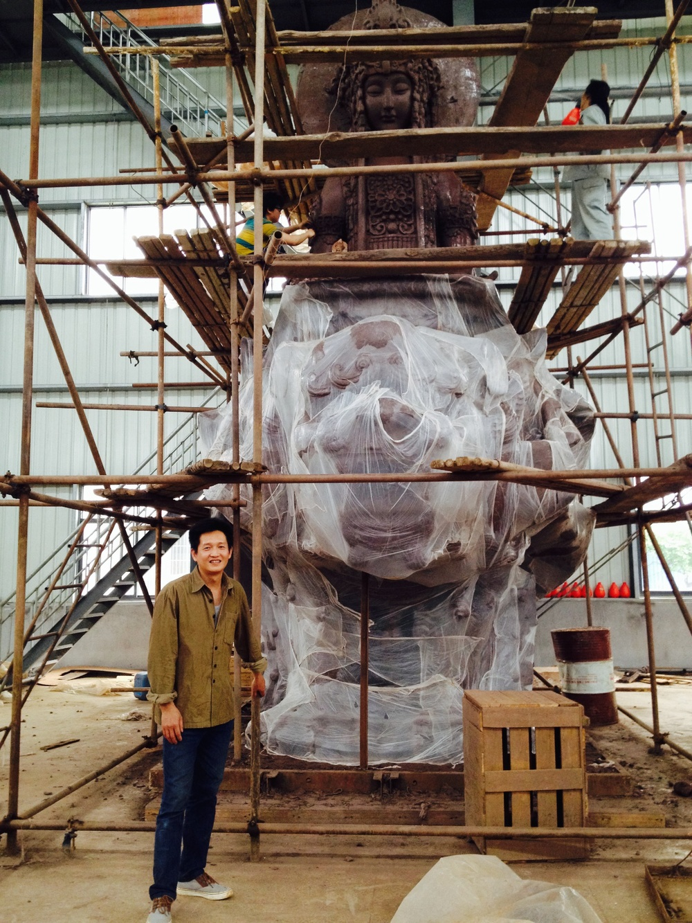 The Enlarging Department, where they are scaling up this piece in clay, getting it ready for molding and casting.  TQ Art Foundry, China.