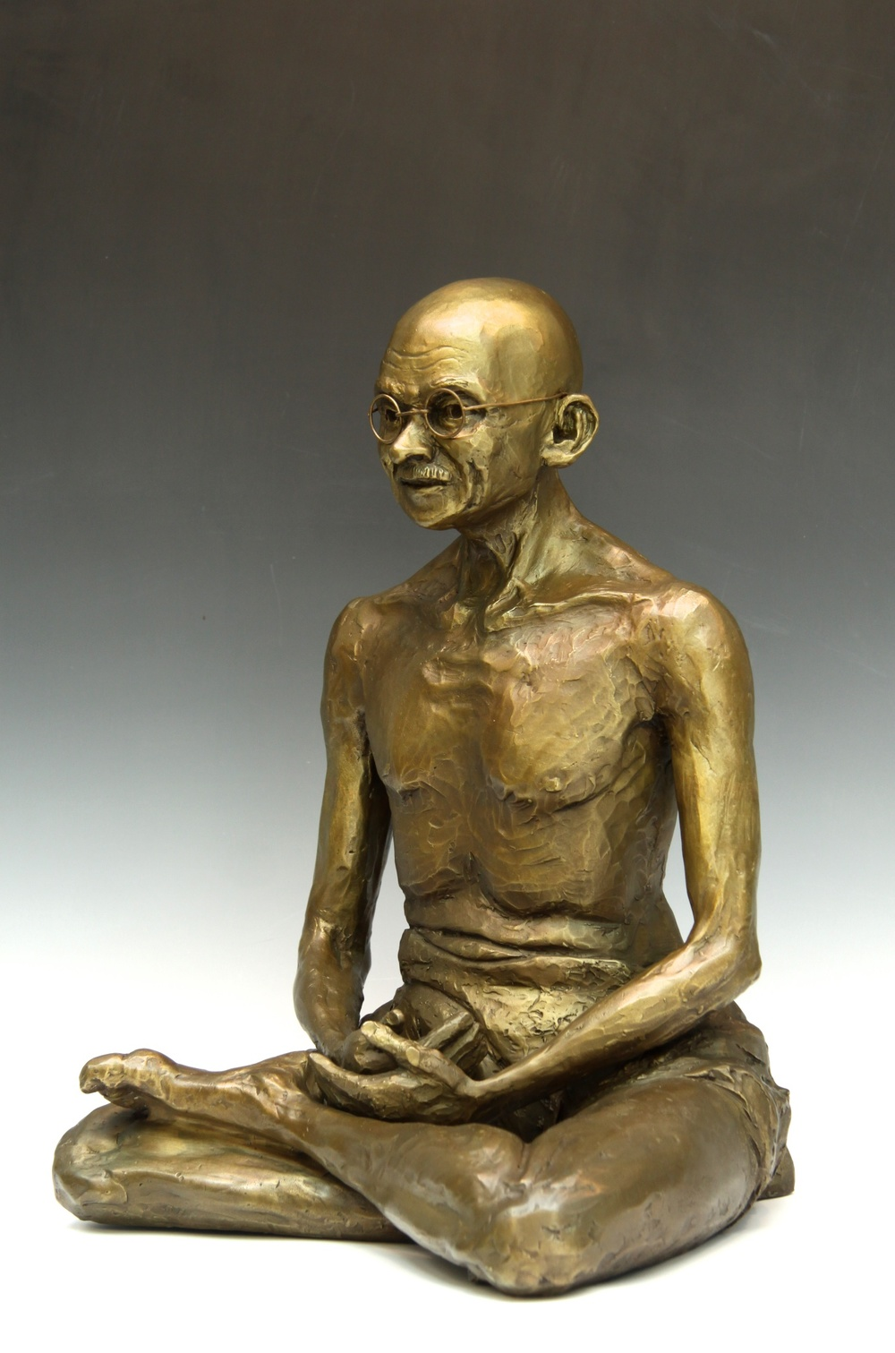 Gandhi, bronze sculpture portrait limited edition, 40cmH x 33cmW x 30cmD.  Available on optional marble base.