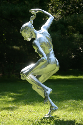 Sprayed chrome patina on resin, lifesize, Dance (I am not a Commodity) 2008.  Nice finish but lacks darkness in the recesses and fades quickly especially outdoors.