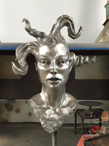 "Large Woman's Head- Silver Patina, before Lacquer for outdoors, 96""H, 2015"