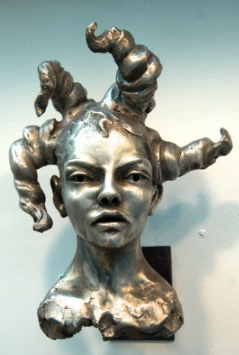 "Ophelia - Bronze with Silver -- 9""H, 2014.  This was the first piece that gave me a sense that Perfect Silver would be possible, with warmth, skin-tone and high contrasts between light and dark."
