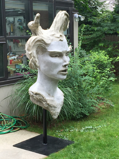 Large Woman's Head -- resin version.  This will be painted a light/warm color to keep the connection to the eyes and can be used as the focal point for some perfrmance or sense of ritual