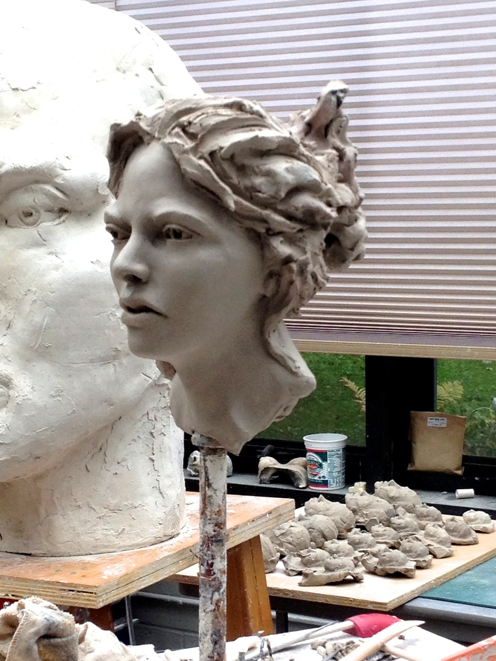 Ceramic head sculpture, work in progress,