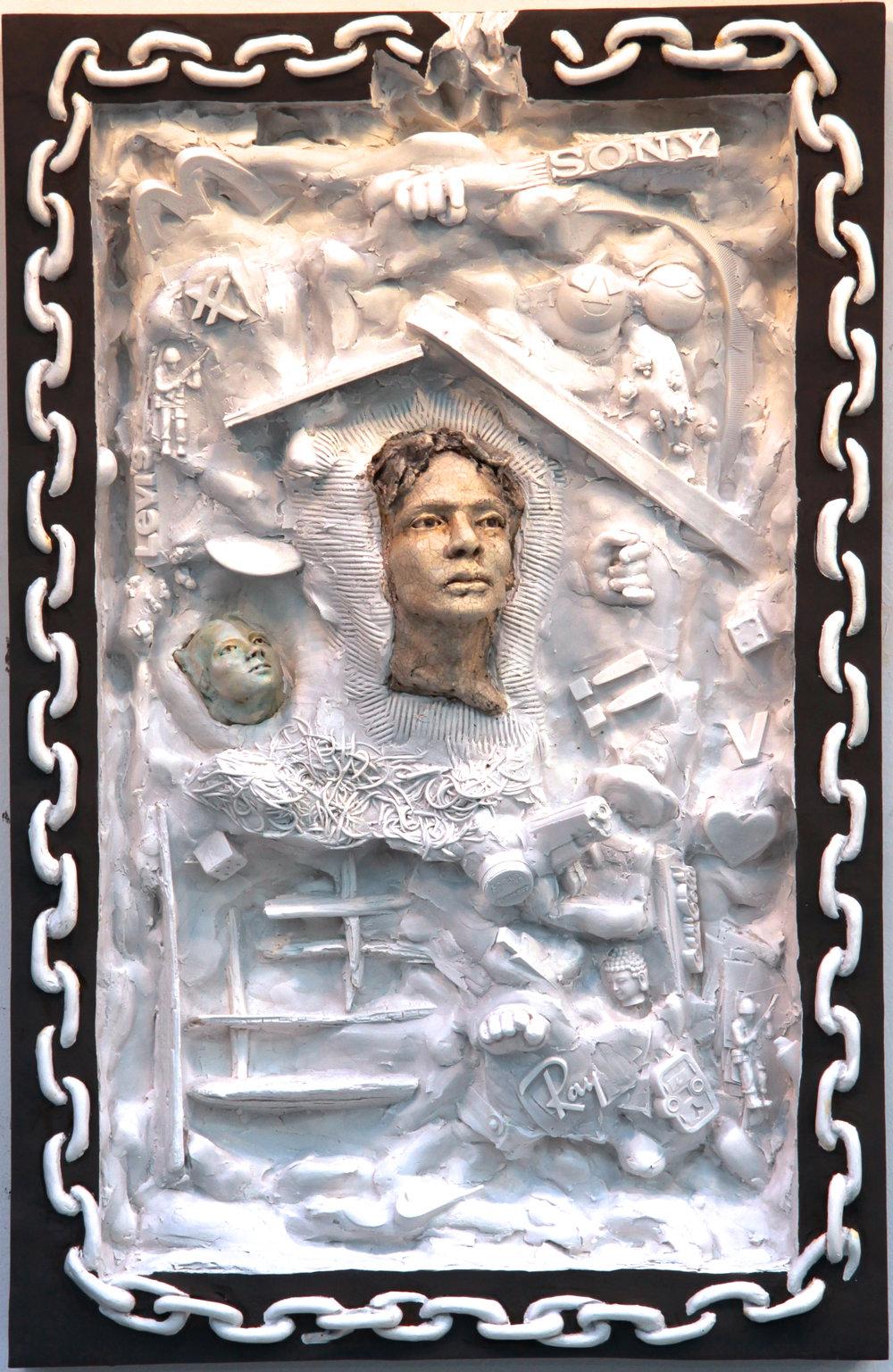 "(C)scape #34, Hydrocal, carrara marble, glazed stoneware, acrylic, 30.5"" x 18.5"" x 5""D, 2016."