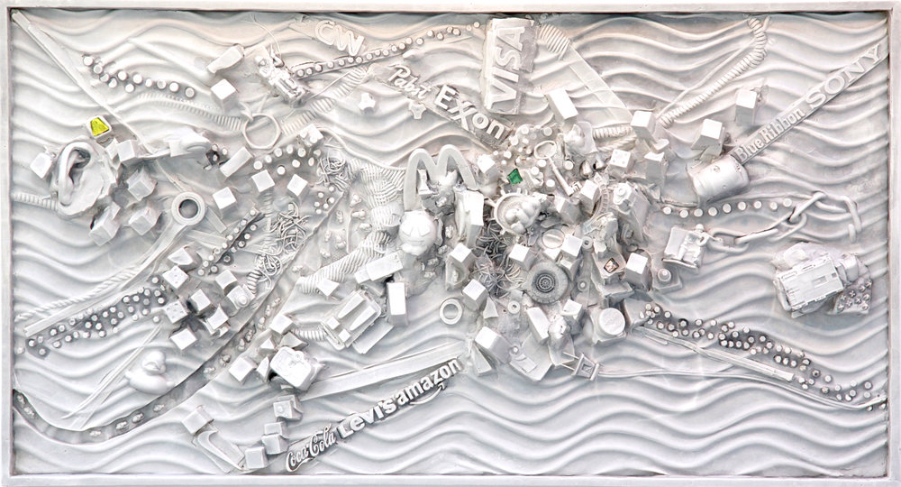 "(C)scape 48 - Rhizome 21""H x 36""w x5""D, wall-mounted sculptural relief, hydrocal, Carrara marble, 2017."