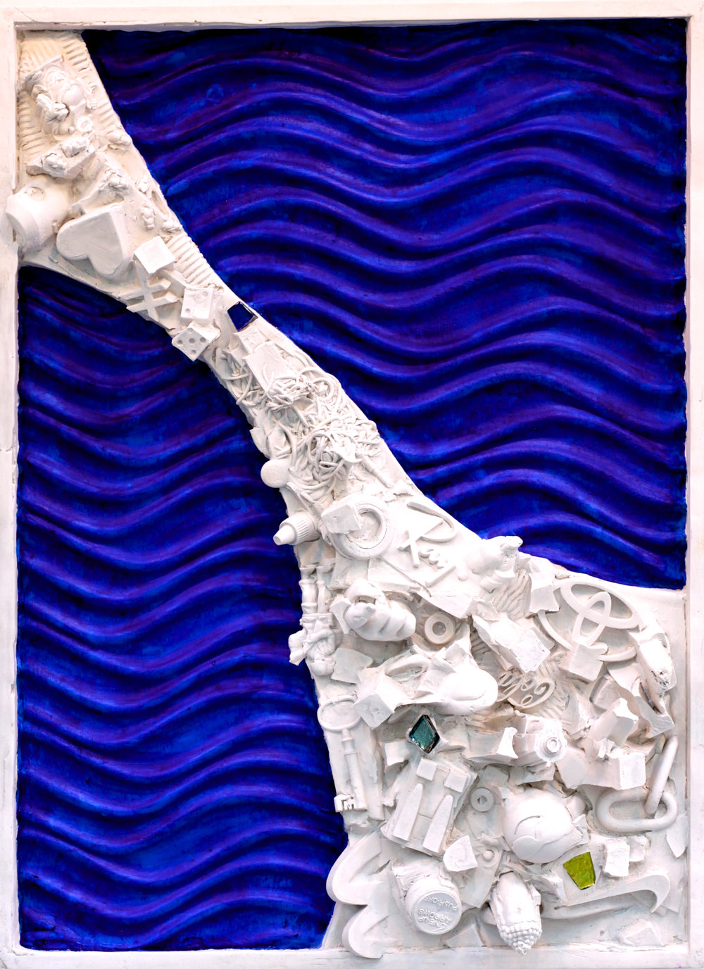 "(C)scape #47, Rhizome #1, 23"" x 15"", plaster, carrara marble, oil paint, glass."