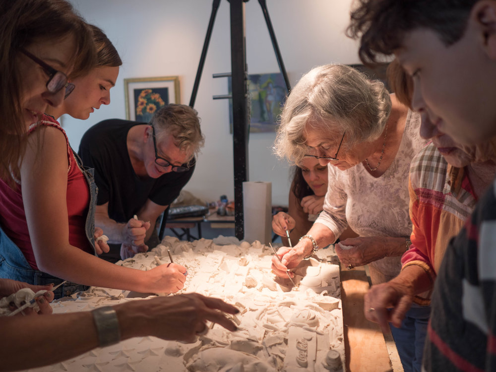 Working on with members of the community in LaGrange, GA on Shared Spaces flag sculpture, June 2018