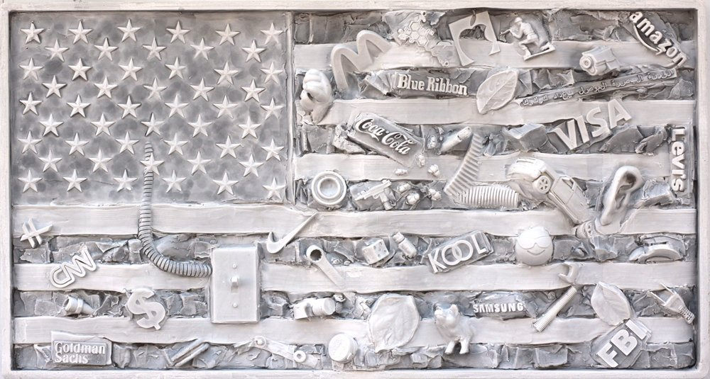 My first flag wall relief sculpture piece, a study I made in the studio, winter 2018.  Shared Spaces Study #1.