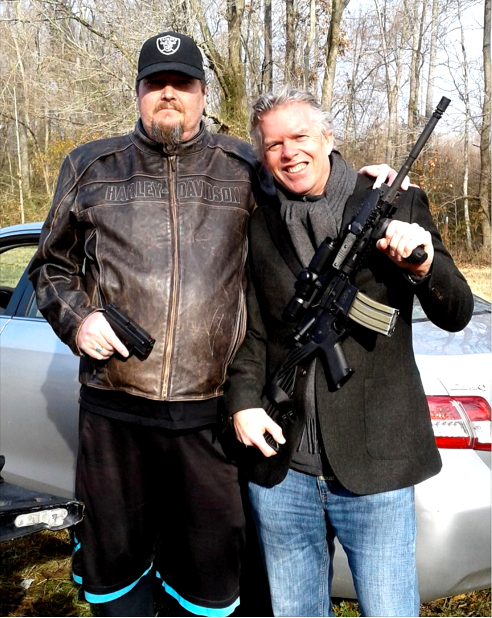 Me, looking entirely out of place, with my cousin and close childhood friend Bruce on the first   trip to Paris, Tennessee.  (I loved it, but politely declined the   AR-15 with Bumpstock for future trips)