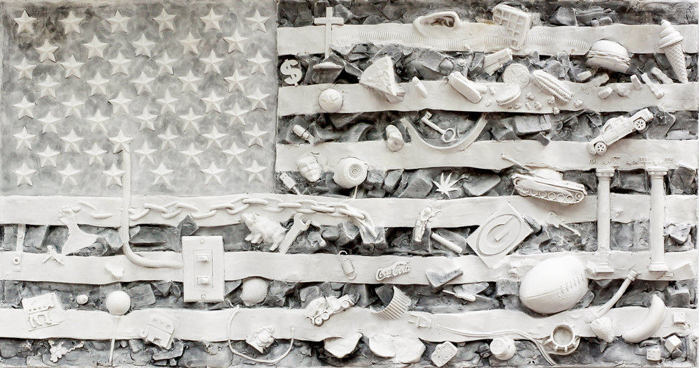 Shared Spaces study #5- American Flag art, contemporary US flag imagery and art