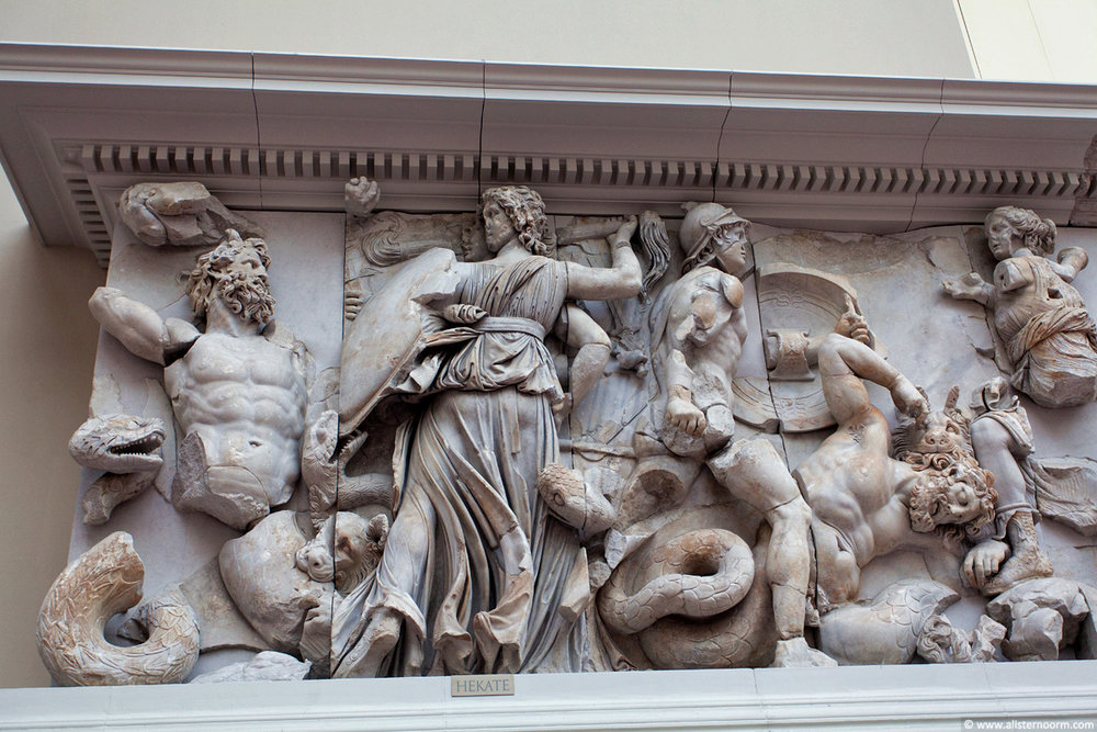 Section of wall relief sculpture from the Pergamon Altar, installed in the Pergamon Museum, Berlin