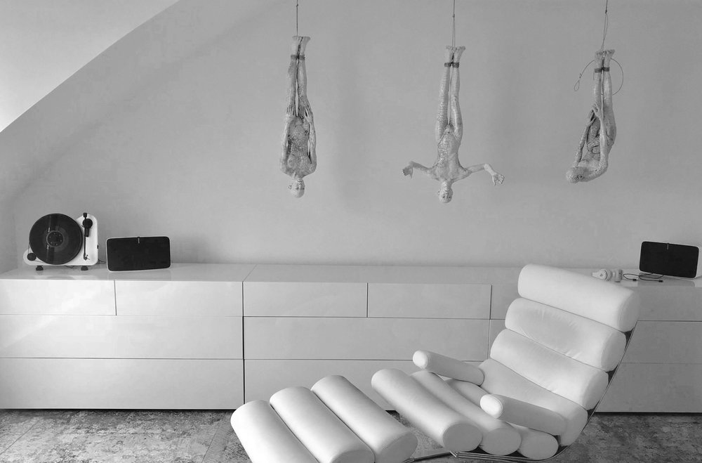 3 Hanging Butoh Figures, installation view in collector home, Hamburg, Germany.