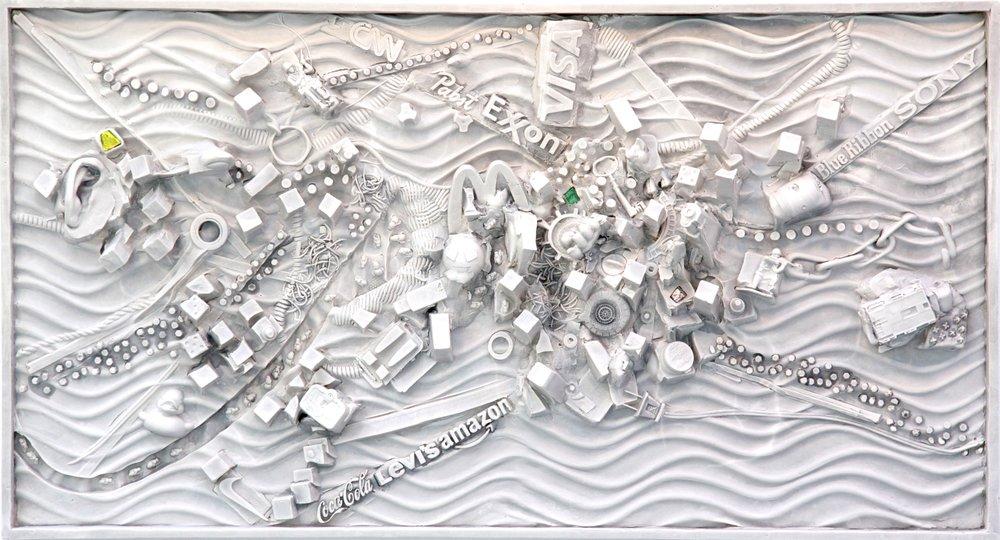 Cscape #48, (Rhizome), 21 x 36, plaster, Carrara marble wall relief, $5,000