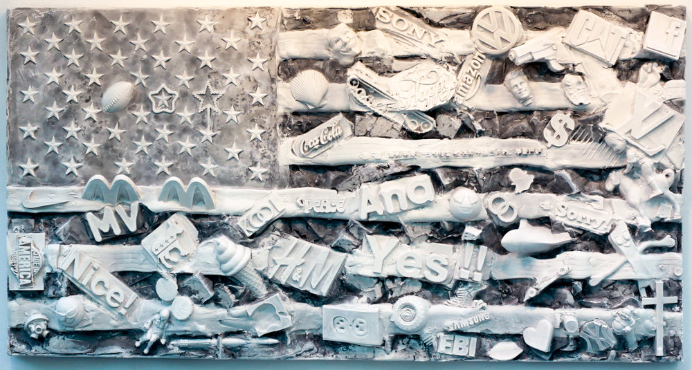 Shared Spaces- Mount Vernon, NY - Jan 2019, 18x34x4, hydrocal and Carrara marble, wall-mounted