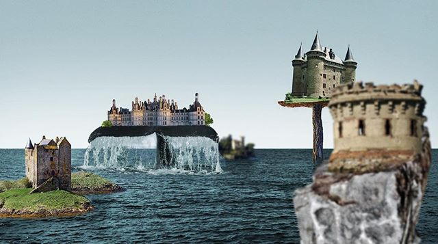 Today is perfect day to get lost in imagination #collageart #collage #madworld #sea #castles #whale #illustration