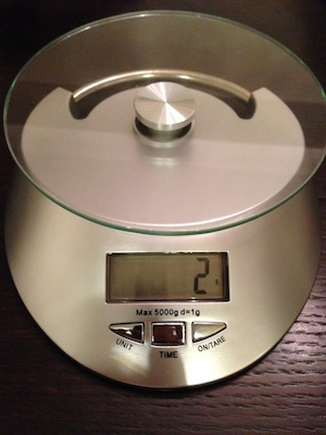 Kitchen scale for measuring food. I log all of my meals to the Jawbone Up24, but it's difficult to guess the weight of food if you don't have experience. I bought this scale to train my ability to eyeball food and more accurately guess its weight in grams.
