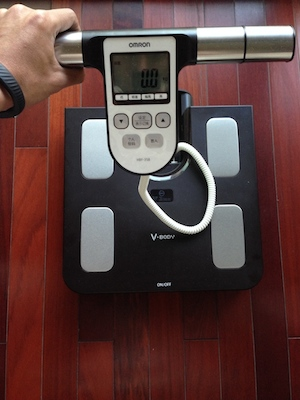 Omron body composition scale. I use this scale as my primary measure of body fat percentage. You hold the handle bars in your hands while standing on the scale and it gives you readings for weight, body fat %, internal body fat and BMI. This bad boy works well and is half the price of a Withings scale. If only it could sync via WiFi...