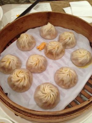 """Steamed pork dumplings (""""Xiaolongbao"""") from Din Tai Fung, Xintiandi, Shanghai"""