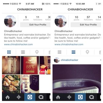 My Instagram profile before and after the experiment.