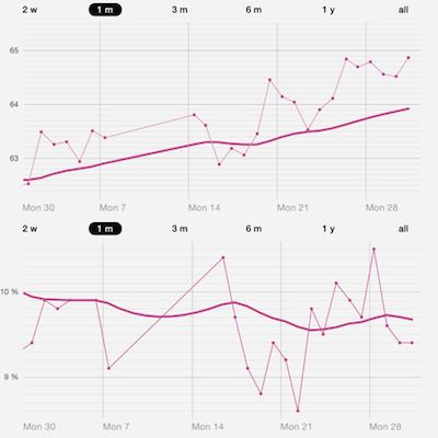 Top: weight in kg. Bottom: body fat %. Note that I was in Taipei during the 2nd week of July and did not take any measurements during that period. I also had a few more cheat meals than usual but came back to Shanghai only 0.4 kg heavier than when I left.