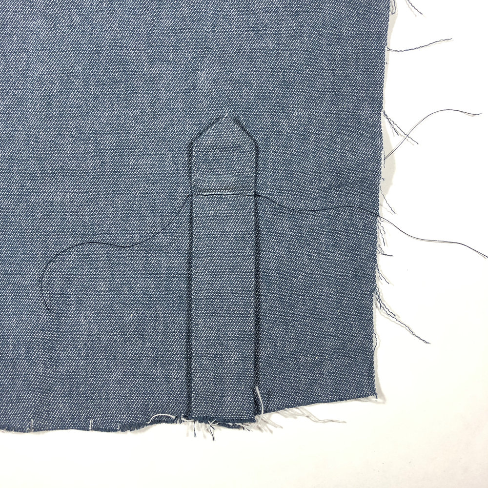 This is what the right side should look like. We will use this as a guide when we topstitch.