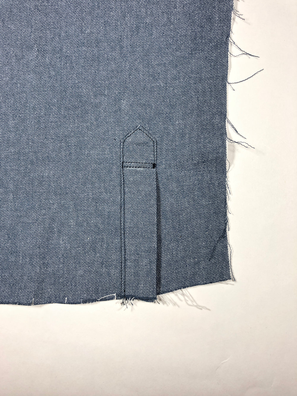 60. Edge stitch around the entire placket. Use the illustrated stitching guide below to help.