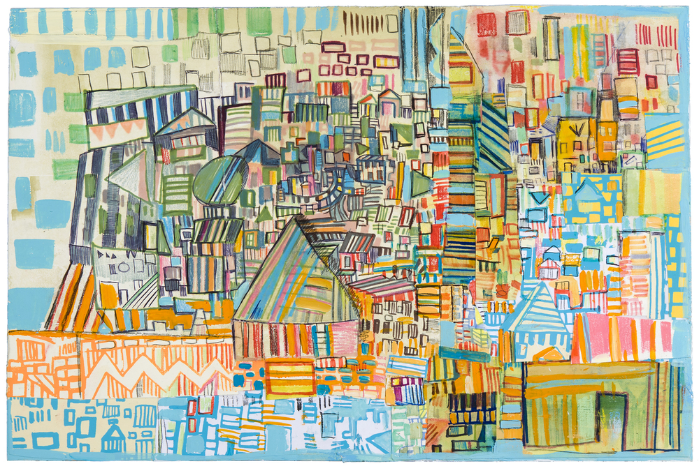 "municipal | pencil, marker, silkscreen, monotype, and acrylic collage on paper adhered to panel | 12"" x 18"" 