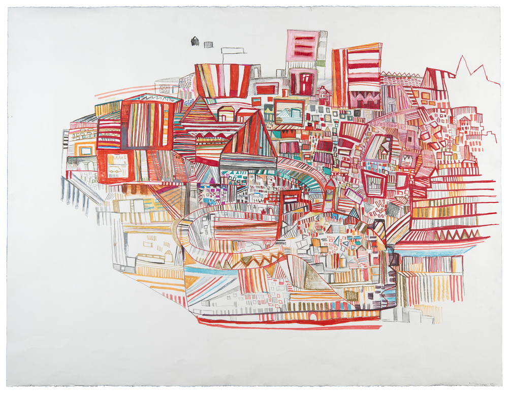 "moving through 2 | pencil, watercolor, and marker on paper | 38"" x 50"" 