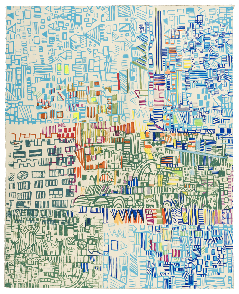 "road runner| pencil, marker, silkscreenon paper | 30"" x 25"" | 2013"