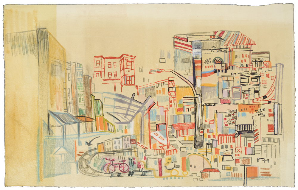"9th St | pencil, marker, monotype on paper | 9"" x 15"" 