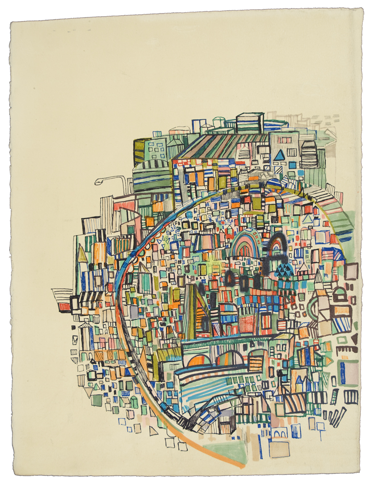 "moving through | pencil, marker, monotype on paper | 17"" x 15"" 