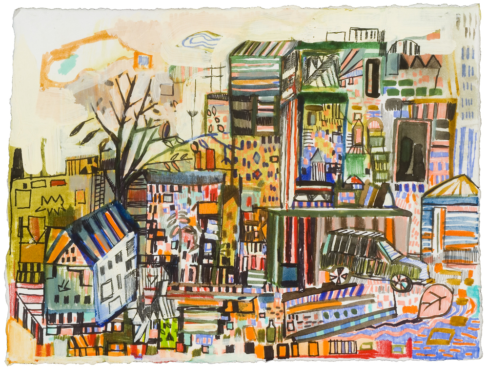 "Wood St. 2 | pencil, marker, acrylic on paper | 6"" x 10""  