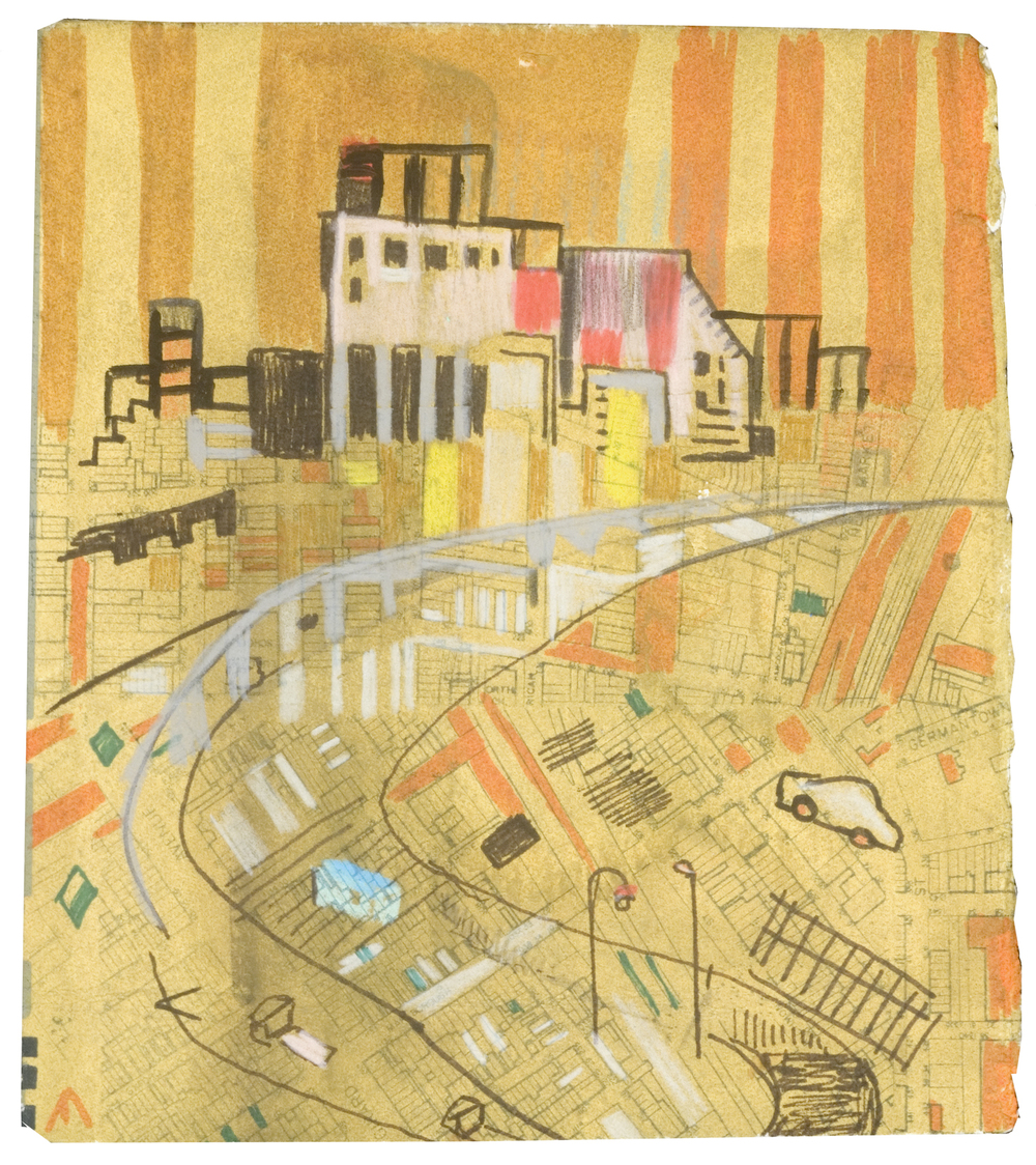 "Off Girard 2 |  pencil, paper litho, marker, monotype | 5"" x 6"" 