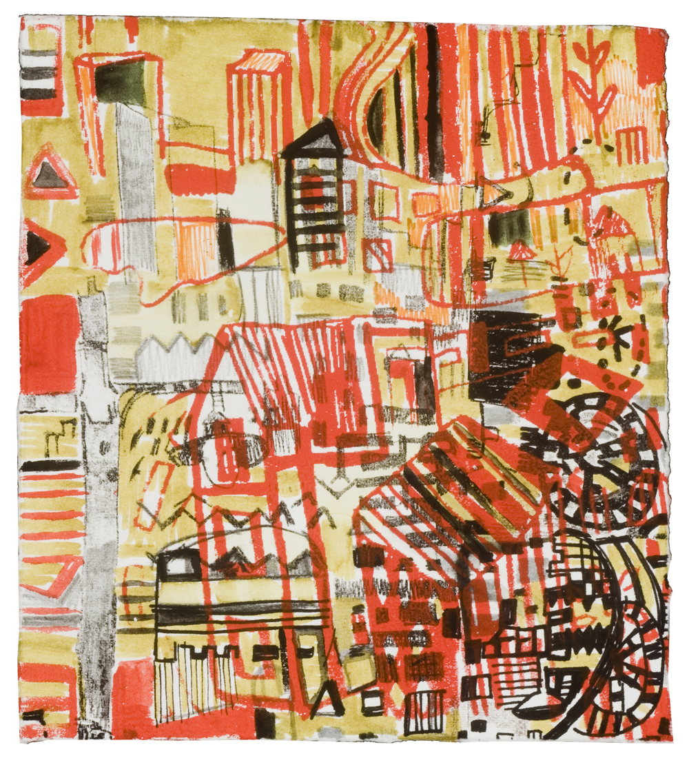 "40th St Electric | pencil, silkscreen, marker, photolitho | 7"" x 8"" 