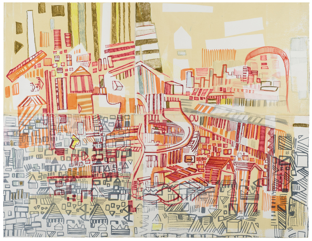 "souvenirs 2 | pencil, marker, silkscreen, and monotype on paper | 25"" x 30"" 