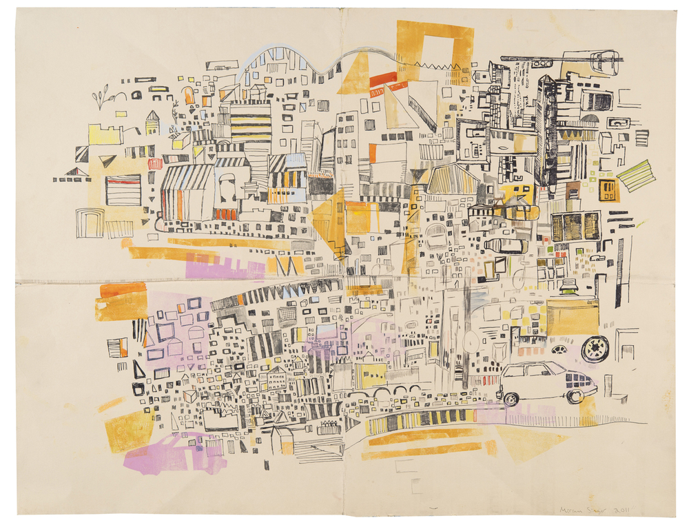 "Fairmount route | pencil, marker, monoprint on paper | 20"" x 26"" 