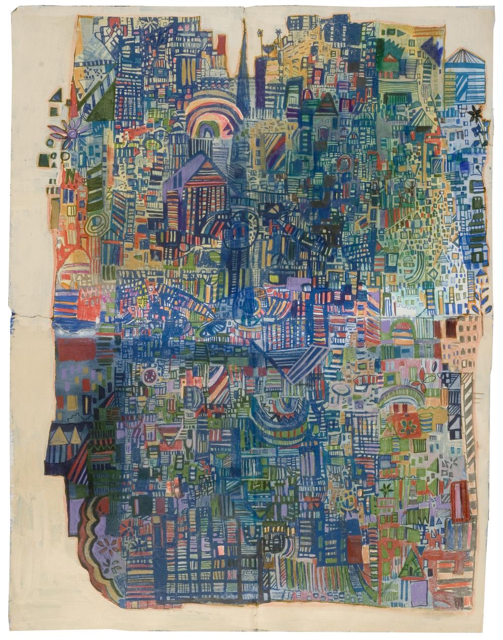 "blue corner | pencil, marker, silkscreen, acrylic on paper | 26"" x 20"" | 2010"
