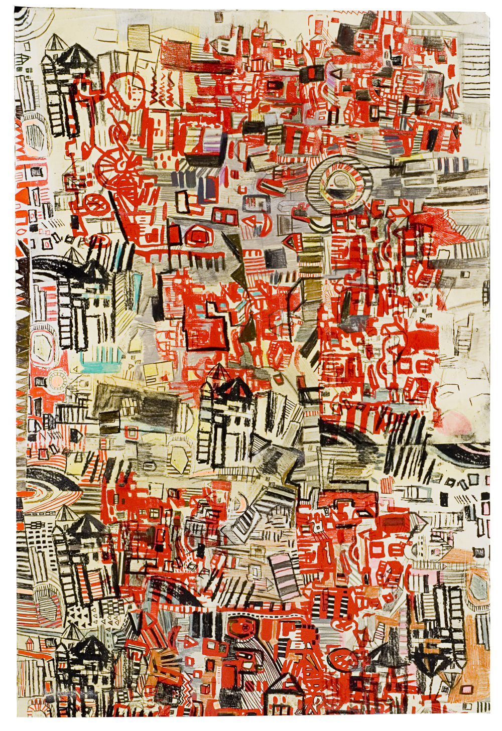 "23rd St | pencil, silkscreen, marker on paper | 26"" x 20"" 