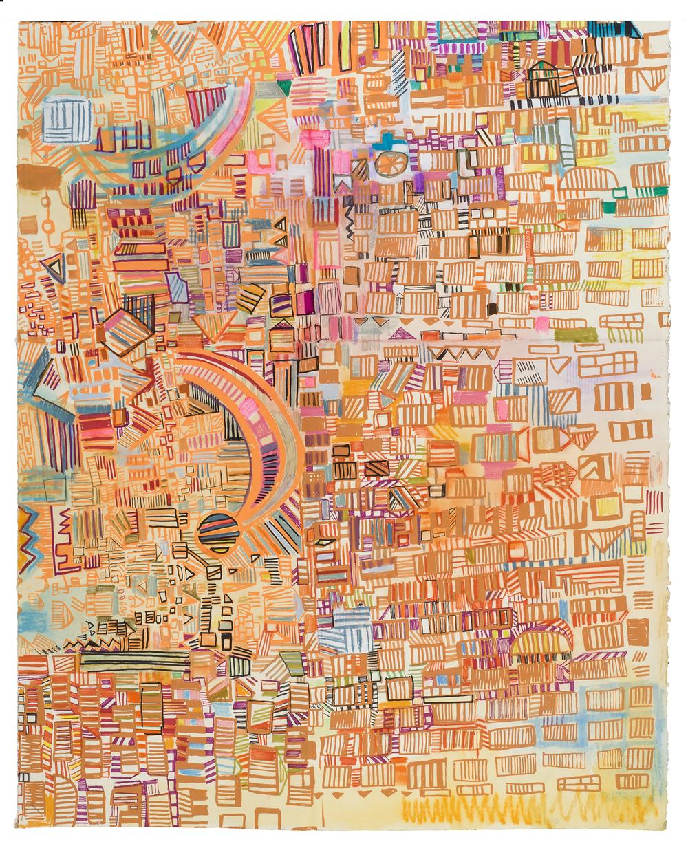 "electric avenue | pencil, marker, silkscreen on paper | 30"" x 20"" 