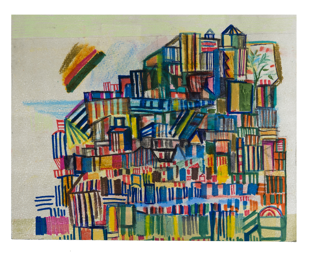 "Race St. hill | pencil, marker, monotype collage on panel | 8"" x 10"" 