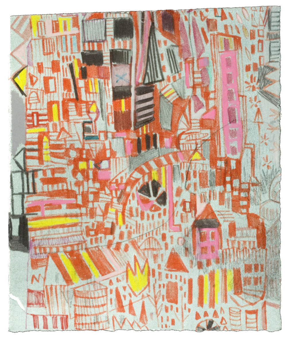 "Loitering Map | pencil, marker, screenprint, monotype on paper | 7"" x 8"" 
